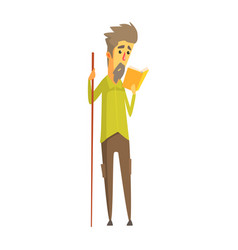 bearded man holding a long wooden pointer and vector image vector image