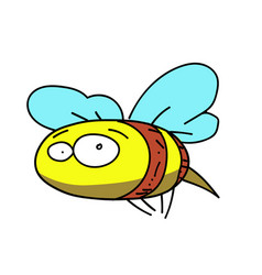 bee cartoon hand drawn image vector image