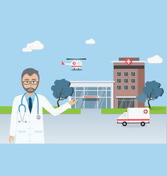 doctor standing in front of city hospital vector image