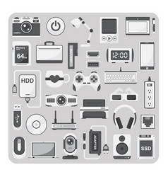 flat icons laptop set vector image