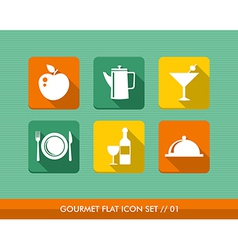 Gourmet menu flat icons set vector