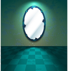 Grungy room with mirror vector image
