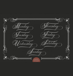 Hand drawn lettering monday tuesday vector