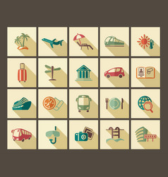 icons of tourism and travel in retro style vector image
