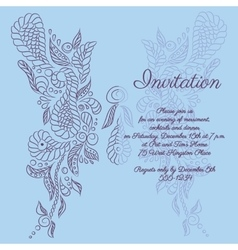 invitation Blue butterfly pattern vector image
