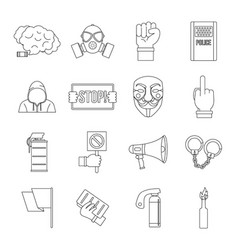 protest icons set outline style vector image