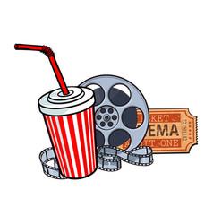 cinema attributes film reel ticket soda water vector image