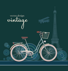 retro bicycle with basket vector image vector image