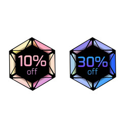set of price tags with polygonal elements and vector image