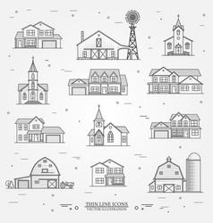 set of thin line icon suburban american vector image vector image