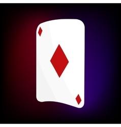 Ace of diamonds card icon cartoon style vector image