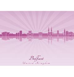 Belfast skyline in purple radiant orchid vector image vector image