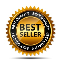 best seller gold sign label template vector image vector image