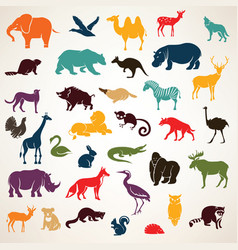 big set of african and european animals vector image