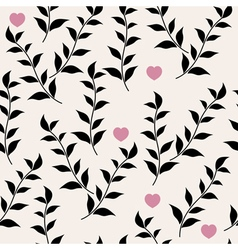 Black leaves and hearts vector image vector image