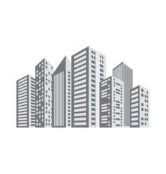 gray buildings and city scene line sticker vector image vector image