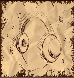 Headphones isolated on vintage background vector image