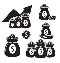 silhouettes with bags of money with coins of gold vector image