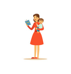 super mom character with child reading book vector image vector image