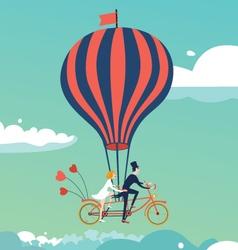 Bike above the clouds vector image