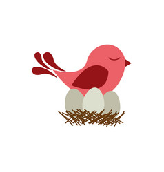 colorful silhouette of bird in nest with eggs vector image vector image