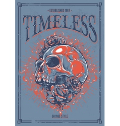 Grunge poster with skull vector image vector image