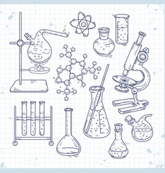 sketch set of various devices for chemical vector image