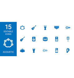 15 acoustic icons vector image