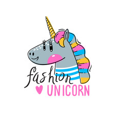 a rainbow unicorn head vector image