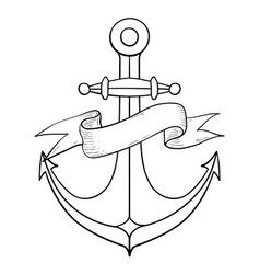 anchor outline drawing hand drawn sketch vector image