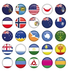 Antarctic and Russian Flags Round Buttons vector