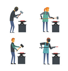 Anvil blacksmith forge icons set flat style vector
