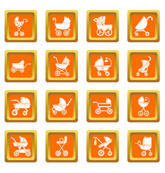 Baby carriage icons set orange square vector
