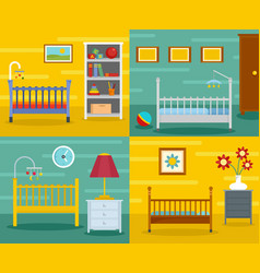 Baby crib cradle banner concept set flat style vector