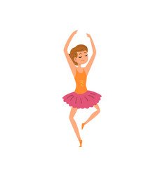 Ballerina character in pink tutu dress dancing vector