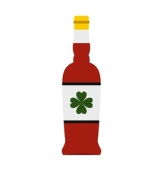 Beer bottle with a clover on the label icon vector image