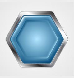 Blue and metallic hexagon shape logo vector