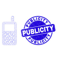 Blue scratched publicity stamp and web mesh radio vector