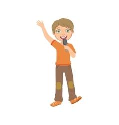 Boy In Orange T-shirt Singing In Karaoke vector
