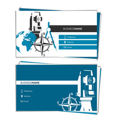 business card concept of geodesy and cartography vector image