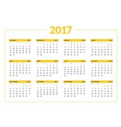 Calendar for 2017 year on white background vector image