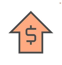 Capital increase concept icon design 48x48 pixel vector