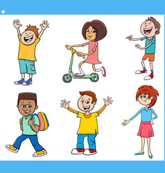 Cartoon happy kids and teens characters set vector