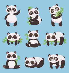 Cartoon panda kids little pandas funny animals vector