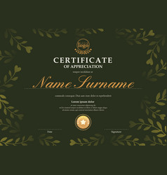 certificate template with dark green floral leaf vector image