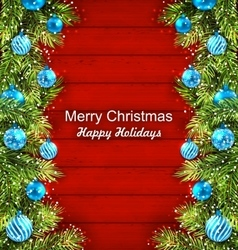 christmas artwork with fir twigs and glass balls vector image