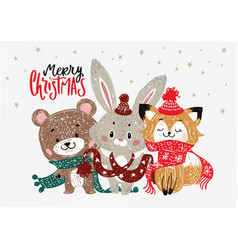 christmas poster with forest animals vector image