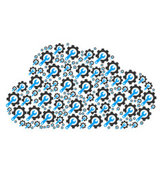 Cloud shape of service tools icons vector