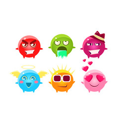 Colorful glossy bright fantastic balls cartoon vector