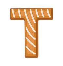 Cookies in shape letter t vector